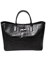 Longchamp Roseau Croco Handbag Black