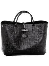 Longchamp Roseau Croco Sac porté main Noir