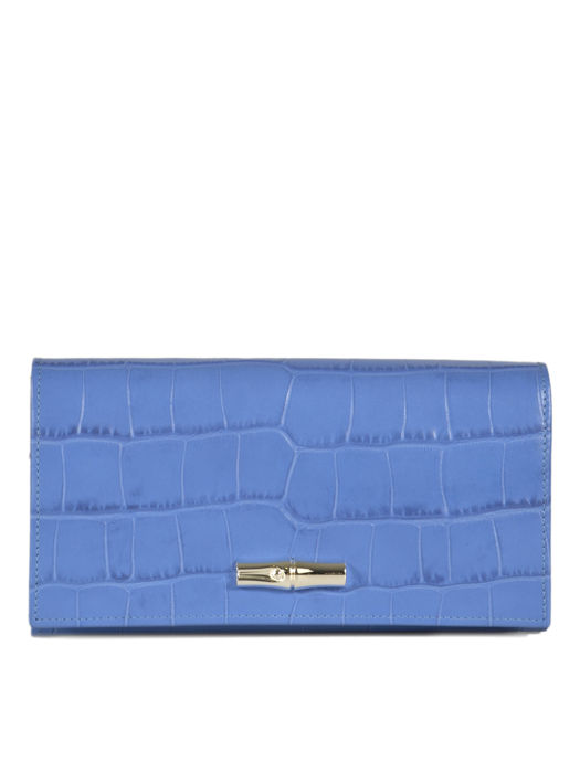 Longchamp Roseau Croco Wallet Blue